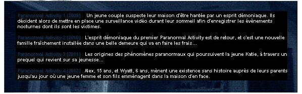 Catégorie Film : La saga Paranormal Activity.