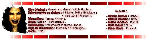 Catégorie Film : Hansel & Gretel ( Witch Hunters ) .