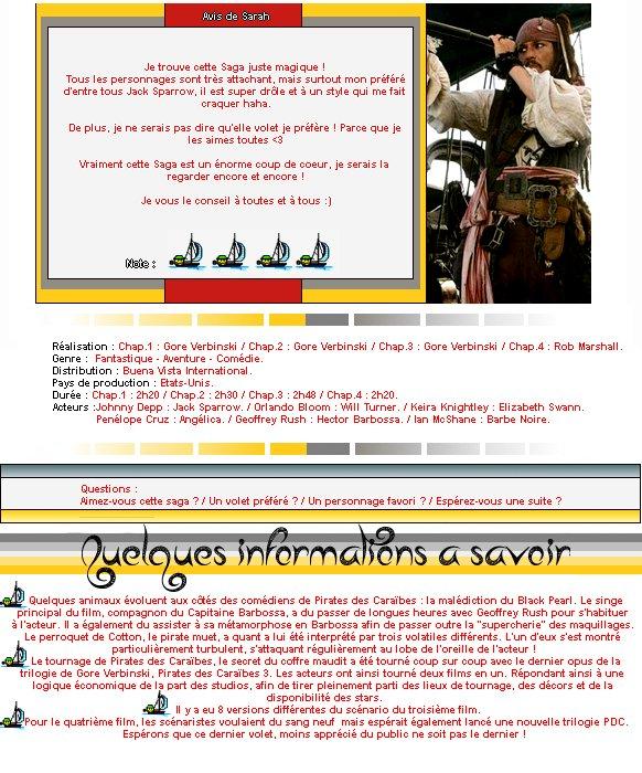 Catégorie Film : La saga Pirates des caraïbes.