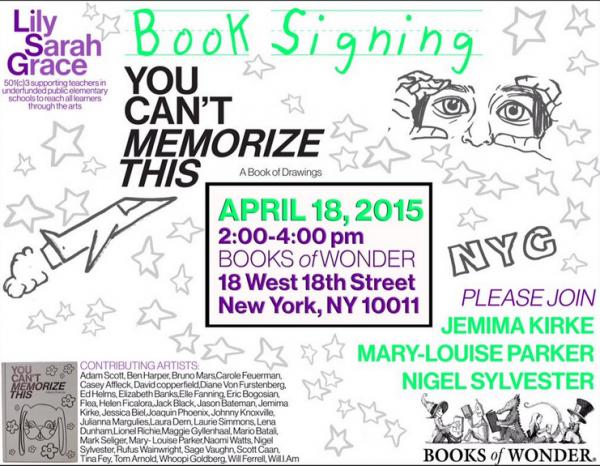 Le 18 avril Jemima signera le livre You Can't Memorize This au Books of Wonder à NewYork. Ce livre soutient l'asso Lily Sarah Grace qui encourage l'enseignement de l'art dans les écoles. Elle sera accompagnée de Mary-Louise Parker vu dans la série Weeds et Nigel Sylvester qui fait du BMX