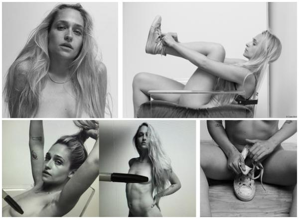 Jemima a joué la modèle pour son ami photographe Cass Bird. Je sais que ces photos peuvent choquées car elles sont dénudées mais puisque Cass Bird a avec beaucoup d'humour caché la poitrine de Jem avec son stylo je ne vois pas se qu'il y a de dérangeant à les publier. Jemima assume son corps et pose juste pour un ami artiste.