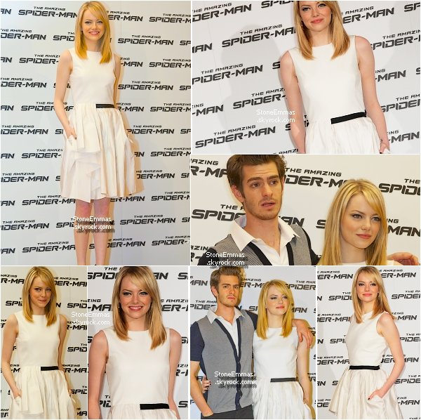 """June 22th Flashback : Emma était à Rome toujours pour promouvoir le Film : """" The Amazing Spiderman """" ! perso : j'aime assez sa robe,je la trouve superbe,Andrew était pas mal non plus !"""