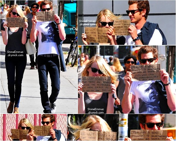 "♠ September 2012 :  Emma & Andrew sont de sortis à New York ,ils ont eu l'idée de notés sur des cartons qu'ils savaient que les paparazzis étaient là ! Andrew à écrit : "" Opportunity to bring attention to organizations that need and deserve it  .... Have a great day ! "" & Emma : "" We just found out that there are paparazzi ,outside the restaurant.We were eating in ... So why not take this ! """
