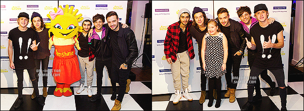 . 09/12/14 : Les One Direction étaient présents lors des « Rays Of Sunshine » qui se déroulait à Londres. Lors de cet évènement, les garçons ont donnés un meet & greet afin de rencontrer des fans handicapés. Je trouve ça adorable venant de leurs parts. .