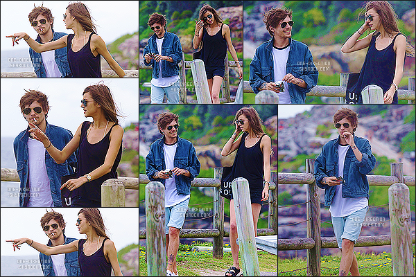 --/02/15 : Louis T et sa petite-amie Eleanor ont été se promenés sur la plage de Bondi près de Sydney.Je trouve ça vraiment adorable que le couple prenne un peu de temps pour eux afin de se détendre durant la tournée. Louis est vraiment souriant !