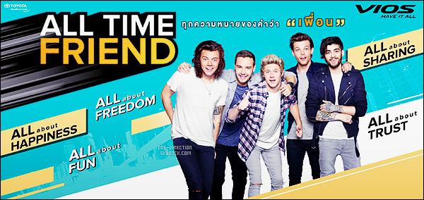 ' ● ● « Toyoto»_.Les One Direction sont de nouveau les égéries de la super marque automobile En plus d'être les égéries de la marque de téléphonie « Docomo » au Japon, les garçons continuent d'enchaîner les contrats publicitaires. Je suis fan. '