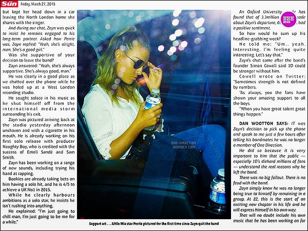 27/03/2015 : Zayn Malik a, encore, été photographié alors qu'il quittait son domicile situé dans Londres.Apparemment, Zayn était accompagné de sa petite-soeur. Il a également donné sa première interview à la radio puis dans le journal « The Sun ».