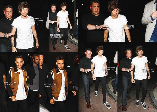 09/05/15 : Liam et Louis ont été photographiés alors qu'ils sortaient d'une boîte de nuit située à Hollywood.Louis et Liam étaient tout sourire, j'en conclus qu'ils étaient heureux de sortir. De plus, les garçons seront à la cérémonie des « Billboard Awards »