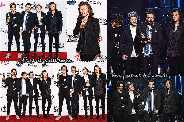 18/05/15 : Les One Direction étaient présents lors de la cérémonie des « Billboard Awards » à Las VegasLe groupe a remporté deux awards dont celui du « Duo/Group » et celui du « Top Touring Artist ». Ils ont remerciés Zayn lors de leur discours.