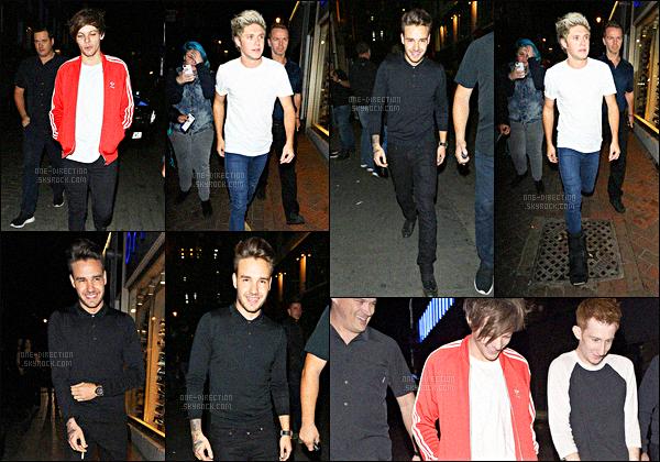 01/10/15 : Liam, Louis et Niall ont été vus en quittant la boîte de nuit « Cirque Le Soir » située à Londres.Durant cette sortie, Niall a eu un petit accrochage avec les paparazzis car ceux-ci demandaient aux fans de dégager pour pouvoir prendre leurs photos