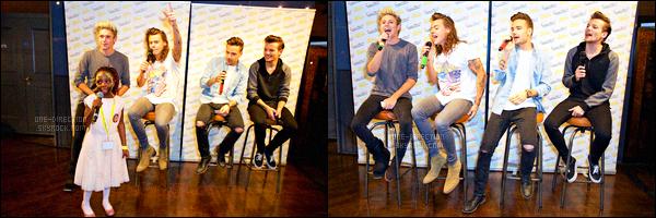 . 29/09/14 : Les One Direction étaient présents lors des « Rays Of Sunshine » qui se déroulait à Londres. Lors de cet évènement, les garçons ont donnés un meet & greet afin de rencontrer des fans handicapés. Cela se déroulait dans la salle de l'o2 Arena. .