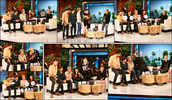 17/11/2015 : Les One Direction se sont rendus à la célèbre émission « The Ellen Show » à Los AngelesLes garçons ont d'abord participé à l'émission avant de rejoindre la célèbre Ellen DeGeneres sur une scène à l'extérieur afin d'y faire un petit show