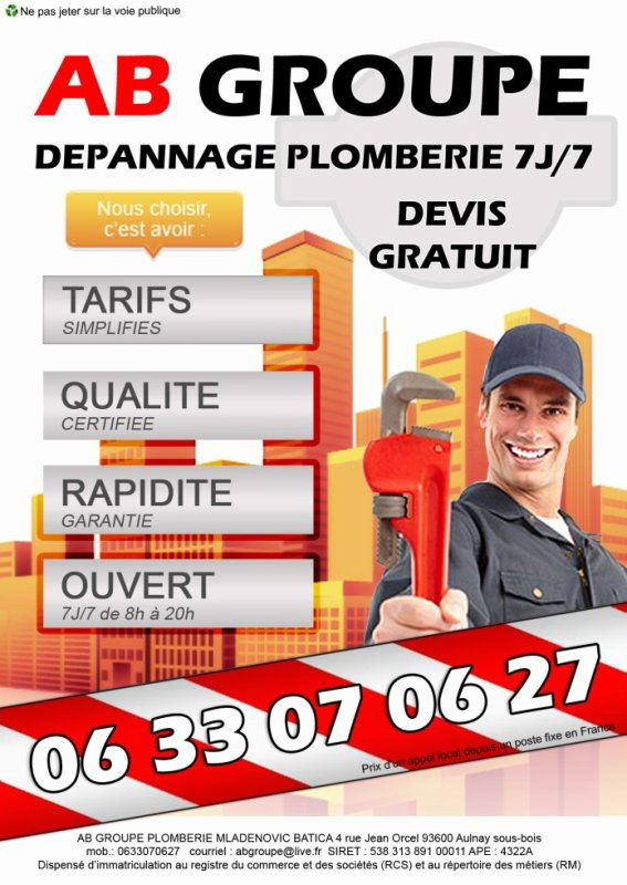 AB GROUPE DEPANNAGE PLOMBERIE 7J/7