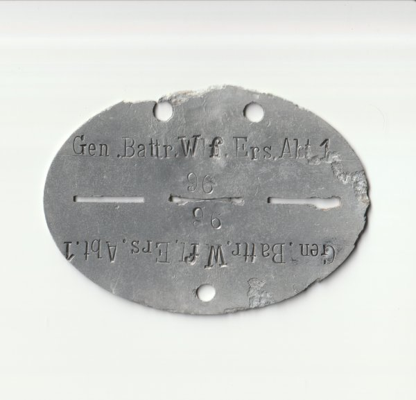 Erkennungsmarke Gen. Battr. Wf. Ers. Abt. 1