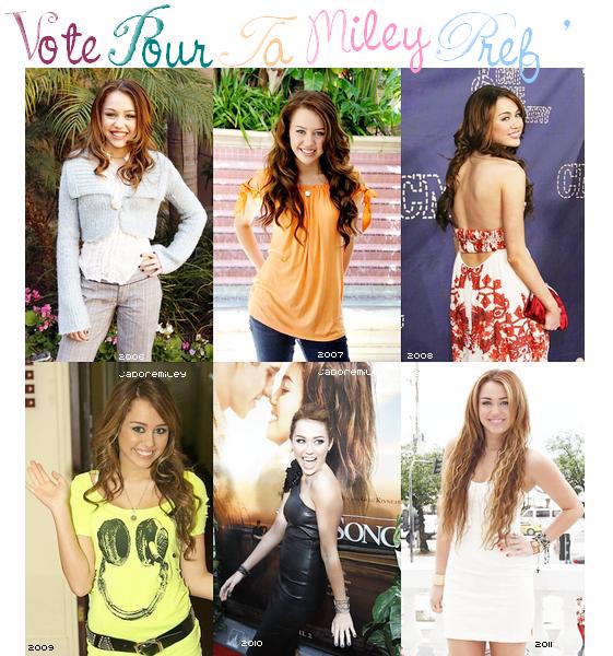 * * Miley a bien grandit . En quelle année l'as préféré-tu ?  * *