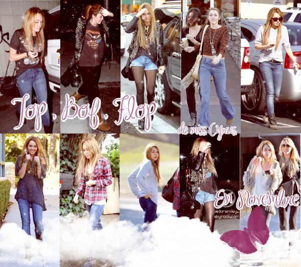 Les tenues que Miley a mis au mois de Novembre Top , Bof Ou Flop a vous de jugez :D