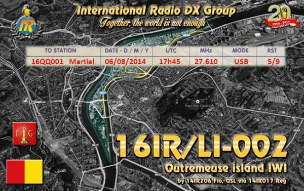 Qsl de l'activation 16IR/LI002
