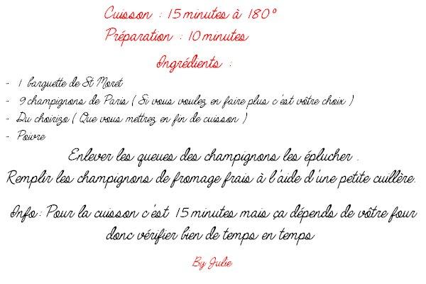 Recette : Champignon + St moret