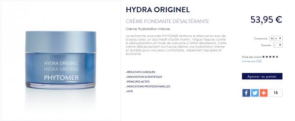 """"""" Avis sur la crème Hydra Originel de Phytomer """""""