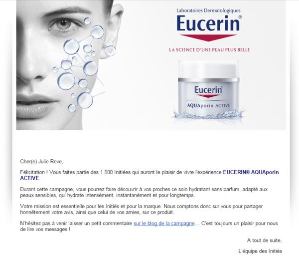 Avis sur la campagne Eucerin AQUAporin ACTIVE