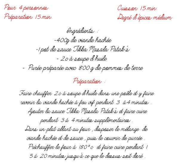 Parmentier à la sauce Tikka Masala