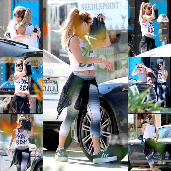 "14.05.14 : Vanessa a été vue arrivant puis quittant le ""WundaBar Pilates"" à Studio City, avec Laura New et la soeur d'Ashley Tisdale, Jennifer Tisdale. Petit TOP pour Vanessa, par contre je n'aime pas trop ses chaussures"