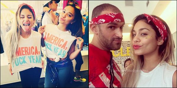 """04.07.2014 :  Vanessa a fêté le """"Jour de l'Indépendance"""" avec sa s½ur, Stella. Vanessa était toute mignonne, j'adore quand elle est mes des bandeaux dans ses cheveux. Vos avis ?"""