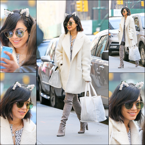 """12.04.2015 : Vanessa a été photographiée arrivant au """"Neil Simon Theater"""" à New-York. J'aime bien sa tenue, elle fait assez classe, et j'adore les petites oreilles de chat. TOP. Vos avis ?"""