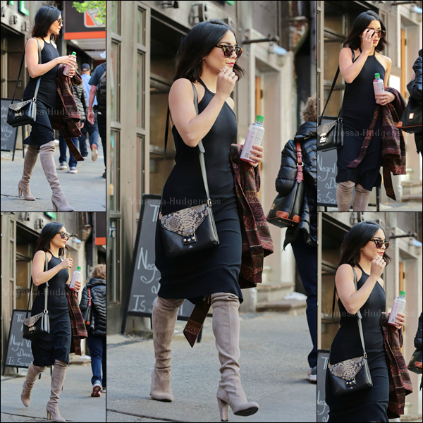 14.05.2015 : Vanessa a d'abord été vue quittant son appartement à New-York. Je trouve que ses bottes ne vont pas avec sa robe, donc BOF. Vos avis ?