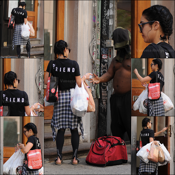28.05.2015 : Vanessa a d'abord été vue arrivant à son hôtel à New-York après avoir été faire quelques courses. On peut voir sur ces photos que Vanessa donne un yaourt ou quelque chose qui y ressemble à un SDF, c'est vraiment un beau geste de sa part. Concernant sa tenue je n'aime pas donc c'est un FLOP pour ma part. Et pour vous ?