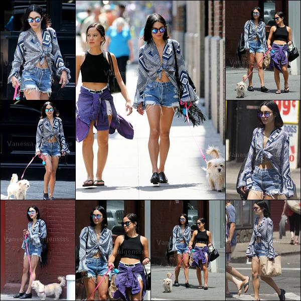 14.06.2015 : Vanessa a d'abord été photographiée promenant Darla avec Kim Hidalgo dans New-York. Concernant sa tenue je n'aime que son short. FLOP. Vos avis ?