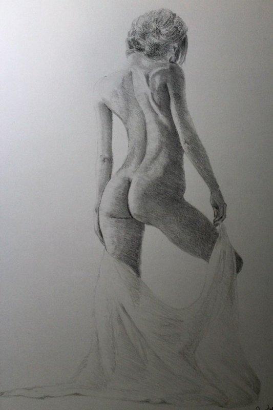 Effeuillage - Dessin réaliste - Dessin sur papier A3 (29,4x42 cm) - Crayons