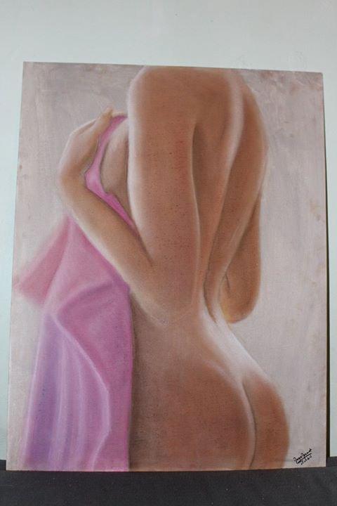Nue dos réaliste - Peinture pastel - Carton toilé 15P 50x65 cm
