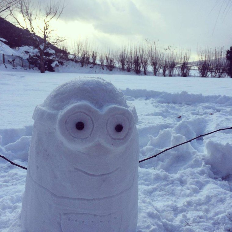 Cette année on ne fait pas des bonhommes de neige mais des minions des neiges !!!