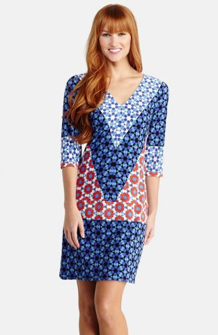 EMILIO PUCCI V-Neck Print Shift Short Dress Blue