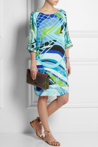 Emilio Pucci Green Lamborghini Printed Silk Mini Dress