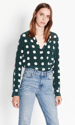 EQUIPMENT KEIRA POLKA DOT BUTTON UP SHIRT SCARAB & NATURE WHITE