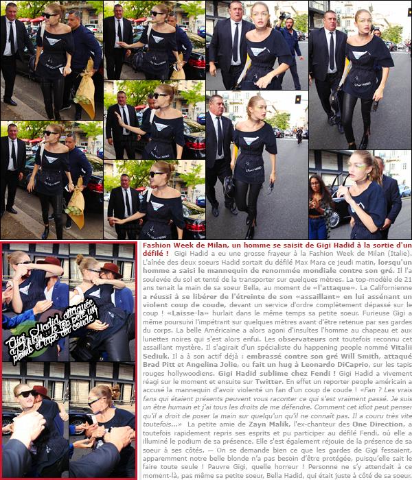 . 22/09/2016: Gigi à été photographiée avec Bella Hadid après le défilé de Max Mara toujours en Italie ─ à Milan !       Grosse frayeur pour Gigi Hadid. Le top model a été assaillie à Milan alors qu'elle sortait d'un défilé de mode. Elle était accompagnée de Bella, sa soeur. .