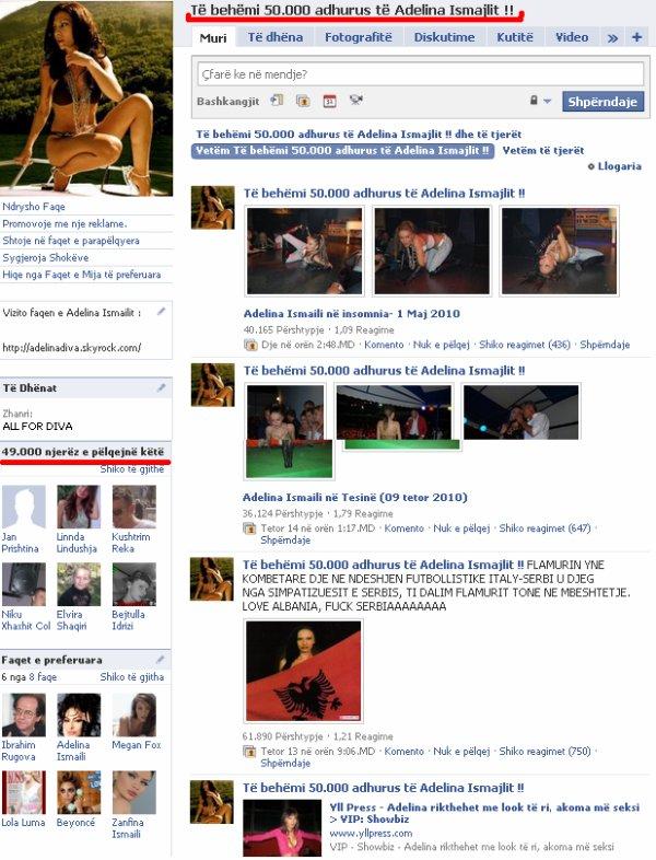 Numri i fansave të Adelines në faqen tjetër në Facebook arrin në 49.000