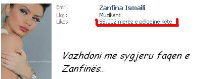 Zanfina 55.000 fansa në Facebook