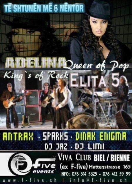 Të shtunën (06 nëntor), Adelina Ismaili koncert me Elita5, në diskotekën F-five