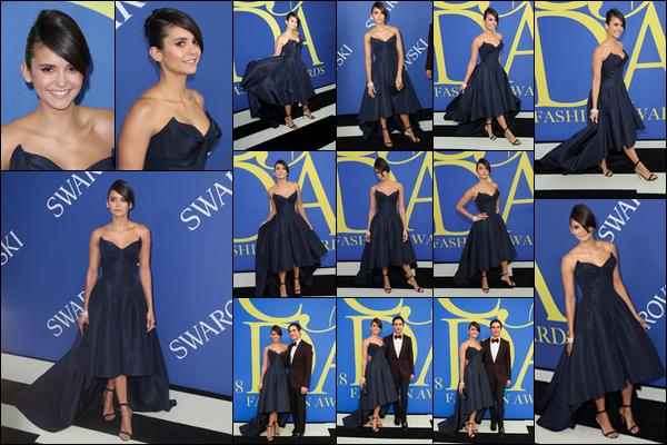 . .04/06/18.─ Ninaétait présente aux « CFDA Fashion Awards» se passant dans la ville deNew York City. Elle est venue avec le créateur de sa robe, Zac Posen. J'adore sa robe, miss Dobrev est vraiment resplendissante dedans. Un gros TOP. .