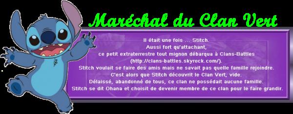 Clans-Battles - Stitch, Maréchal du Clan Vert