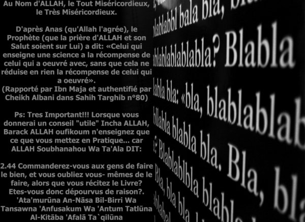 HALTE AUX BLABLA...