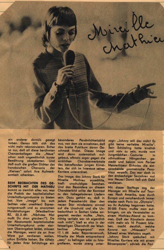 Vier Bemerkungen über Mireille Mathieu ( 3. Teil )