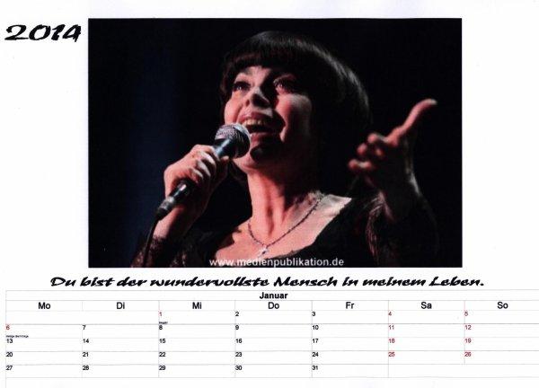Kalender Mireille Mathieu  Januar 2014