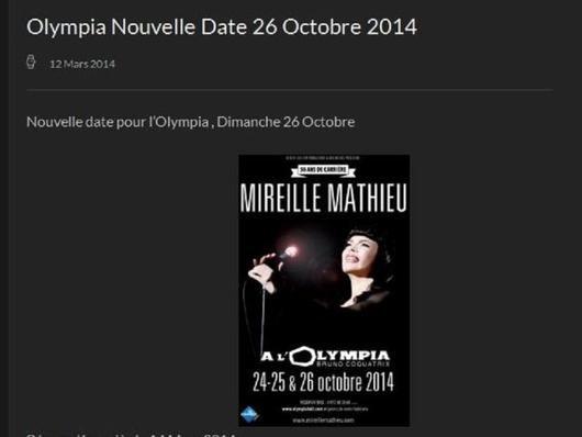 Zusatzkonzert von Mireille Mathieu  im Olympia am 26.10.2014