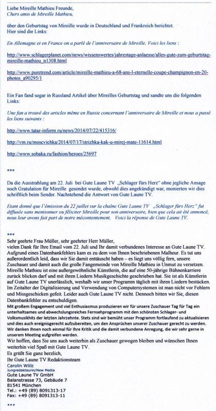 Neues von der Infostelle Deutschland / Mireille im ZDF