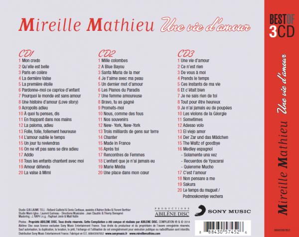 """Titellisten neue 3 er CD    """" Une vie d´amour """""""