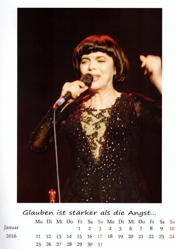 Kalender Mireille Mathieu  Jan. 2016